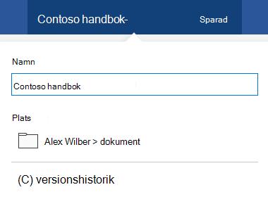 Dialog rutan fil funktioner aktiverat genom att klicka på dokument rubriken högst upp i fönstret.
