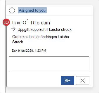 En uppgift kopplad till en annan användare