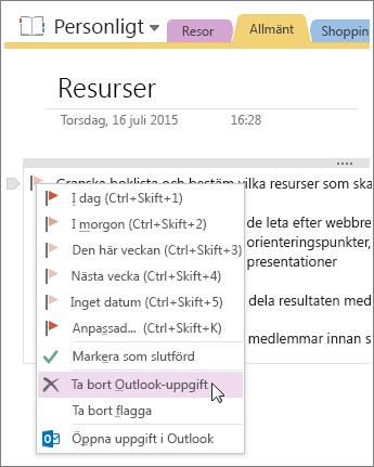 Skärmbild av hur du tar bort en Outlook-uppgift i OneNote 2016.