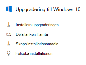 Windows 10 uppgradera kortet i administratörscenter.