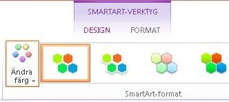 Knappen Ändra färger i gruppen SmartArt-format