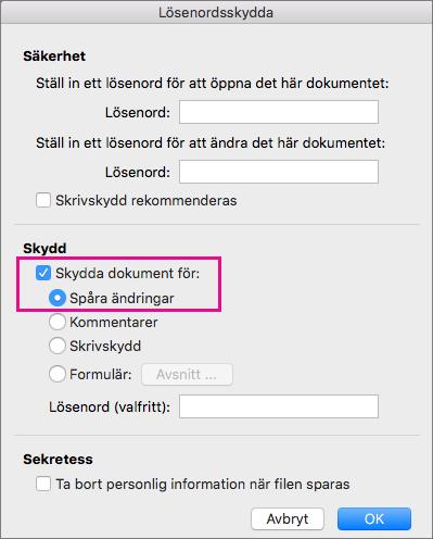 Dialogrutan Lösenordsskydda med Skydda dokument för: och Spåra ändringar markerat.