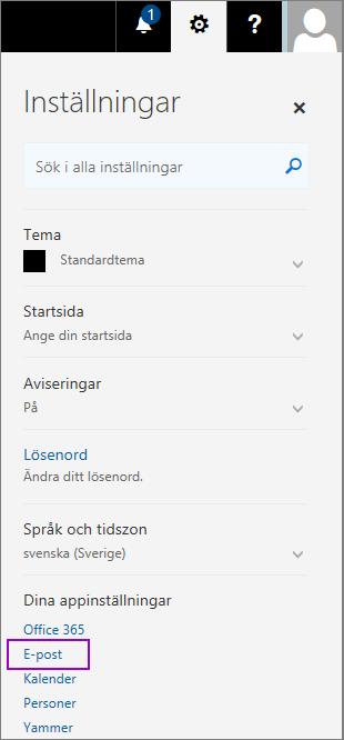 Skärmbilden visar fönstret Inställningar med alternativet E-post markerat i avsnittet Dina appinställningar.