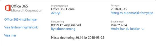 Tjänster och prenumerationer sidan visar prenumerationsinformation för en Office 365 Home-prenumeration.