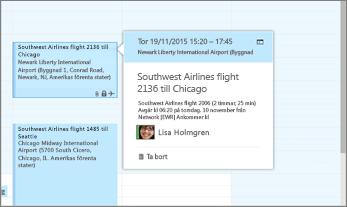 Skärmbild av Outlook som visar flyginformation.
