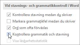 Kryssrutor för grammatik