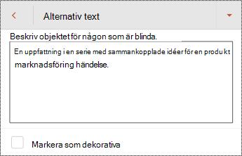 Dialog rutan alternativ text för en figur i PowerPoint för Android.