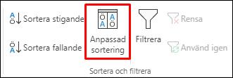 Anpassat sorteringsalternativ för Excel från fliken Data