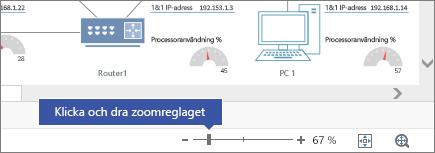 Zoomreglaget i det nedre högra hörnet med knapparna - och +, 67%