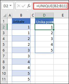 Exempel på användning av = UNIQUE (B2: B11) för att returnera en unik lista med tal