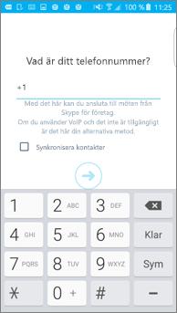 Skärmbild på fönster där du anger motringningsnummer på en Android-telefon