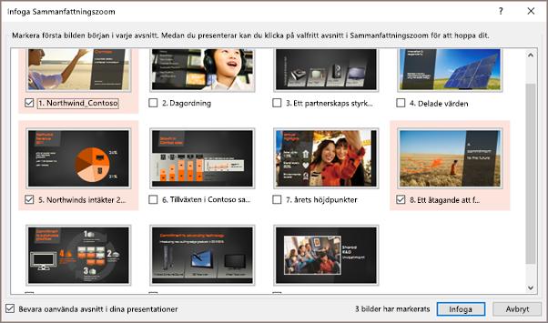 Visar dialogrutan Infoga sammanfattningszoom i PowerPoint med markerade avsnitt.