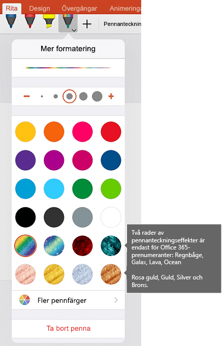 Färg och effekter för att rita med pennan teckningar i Office på iOS
