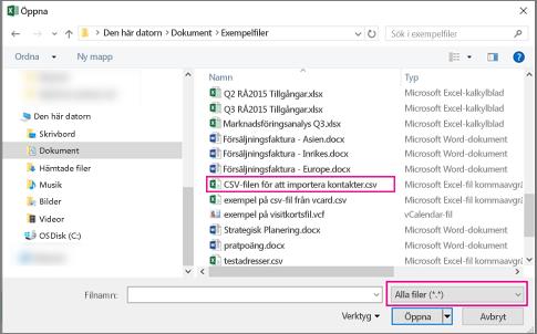 Om du vill söka efter CSV-filen bör du söka efter Alla filer.