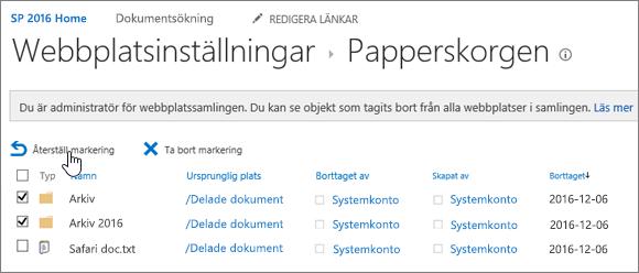 SharePoint 2: a nivåns papperskorg med återställningsknappen markerad