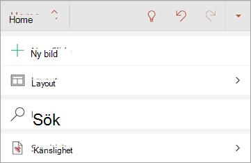 Skärmbild av knappen Känslighet i Office för Android