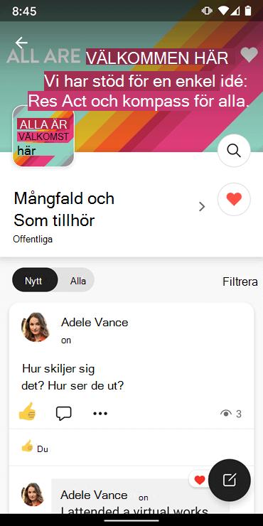 Skärm bild som visar efter en community med Yammer Android-appen
