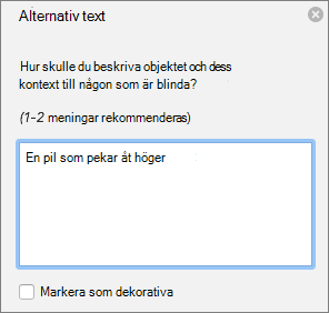Dialogrutan Excel 365 skriva alternativtext för figurer