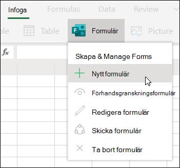 Alternativet infoga nytt formulär i Excel för webben