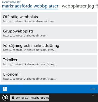 Framhävda webbplatser i SharePoint Online på en mobil enhet