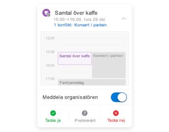 Mötesinbjudan med en liten kalender högst upp, kommentarsdel i mitten och svarsknappar längst ned