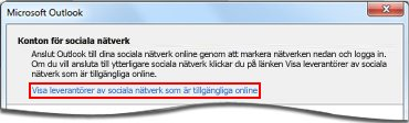 Länka till sidan med Outlook Social Connector-leverantörer