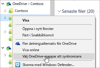 En skärmbild av snabbmenyn i Utforskaren med mappen Välj OneDrive-mappar att synkronisera markerad.
