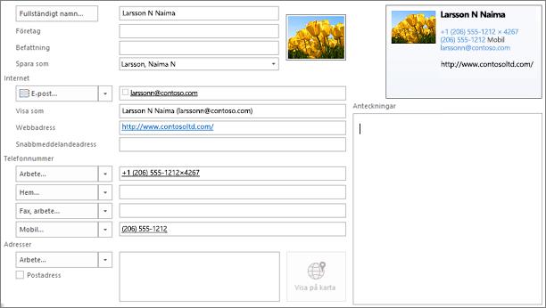 Delvis ifyllt Outlook-kontaktkort