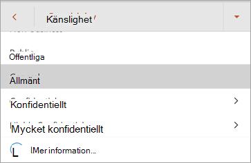 Skärmbild av känslighetsetiketter i Office för Android