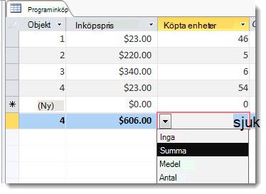 Summarad med funktioner för summa och antal