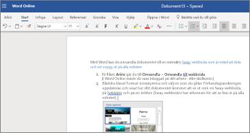 Ett dokument med bilder i Word Web App