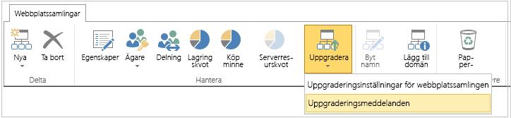 Knappen Uppgradera med alternativet Uppgraderingsaviseringar markerat