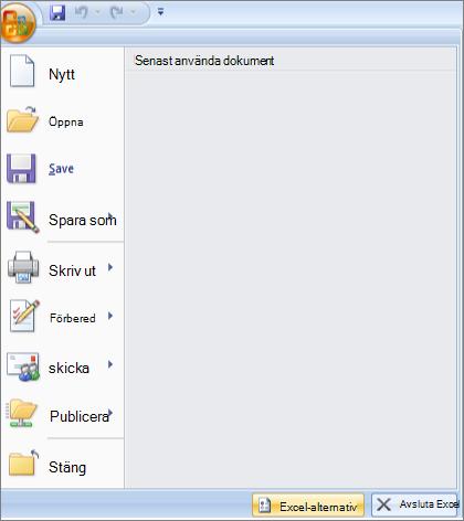 fil alternativ i Excel 2007