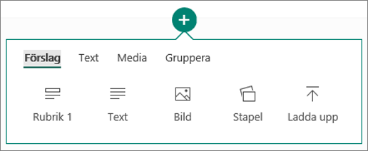 Skärmbild av alternativen för Infoga innehåll.