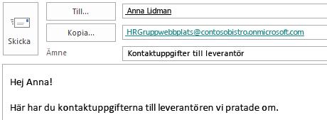 E-postmeddelande med webbplatspostlådan i fältet Kopia.