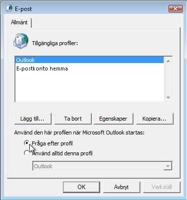 Kommandot Fråga efter profil i dialogrutan E-post