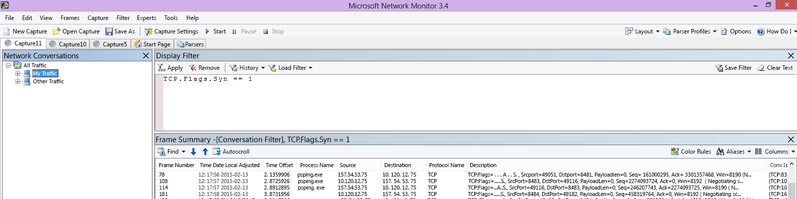 Netmon-spårningen från klienten visar samma PSPing-kommando genom filtret TCP.Flags.Syn == 1.
