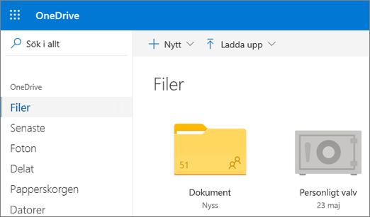 Skärmbild av personligt valv som visas i vyn filer på OneDrive på webben