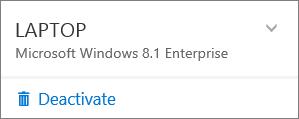 Skärmbild som visar inaktivering av en Office 365 Business-installation
