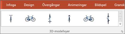 I galleriet för 3D-modellvyer finns några praktiska förval som hjälper dig att ordna vyn av en 3D-bild