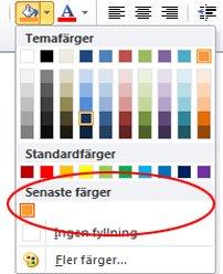 alternativet Tidigare färger