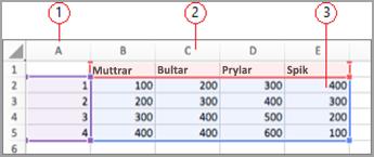 Datafält i Excel