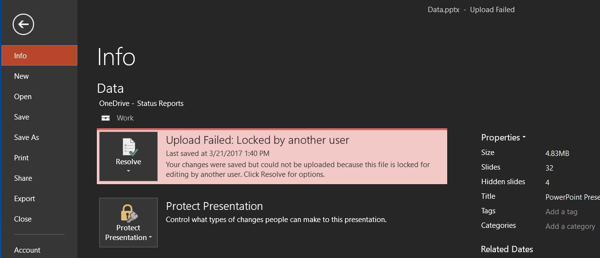 Uppladdningen misslyckades: Låst av en annan användare