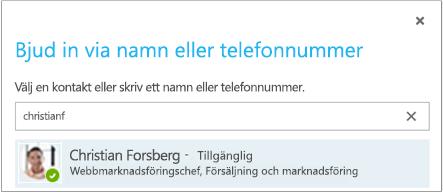 Dialogrutan Bjud in via namn eller telefonnummer