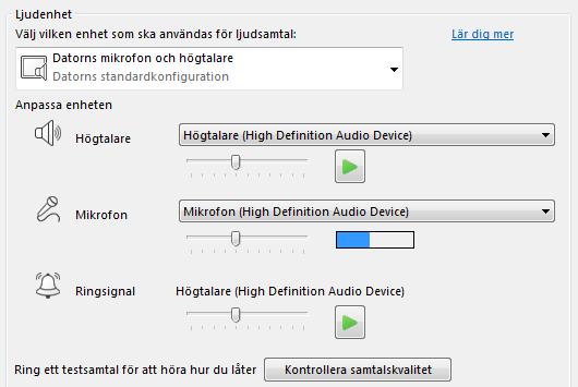 Skärmbild av kryssrutan Ljudenhet där du kan konfigurera ljudkvaliteten