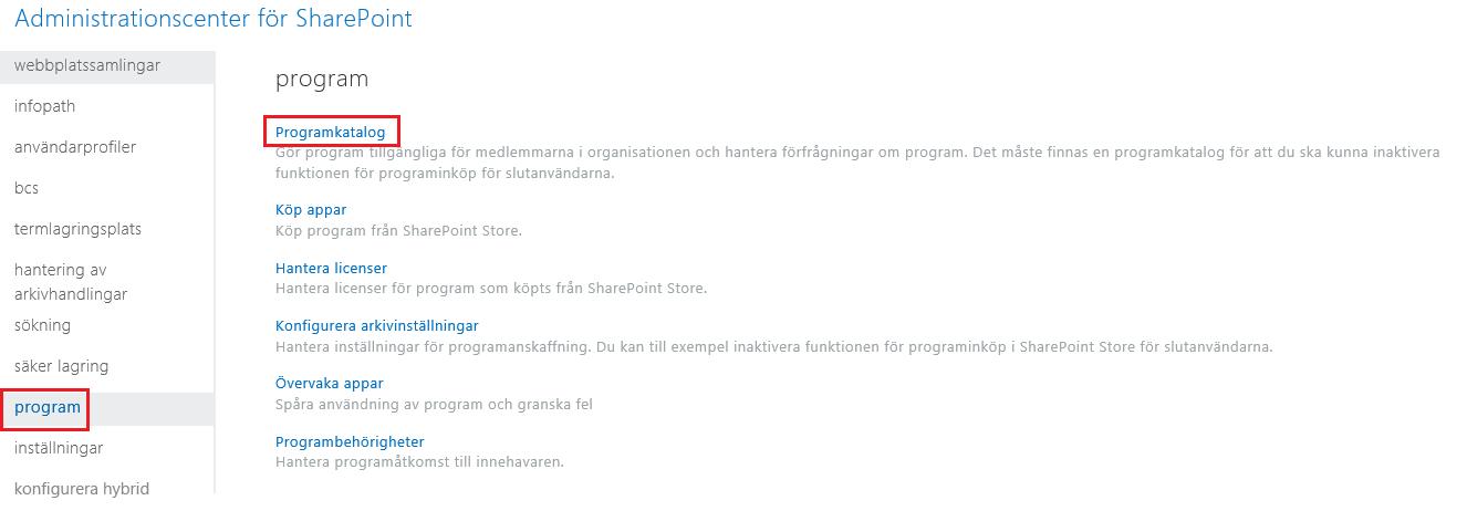 Skärmbild av Appkategorier i administrationscentret för SharePoint.