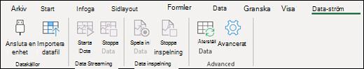Excel Data-ström i menyfliksområdet