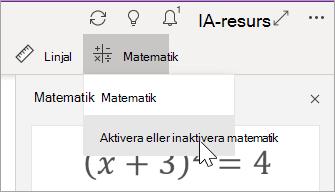 Aktivera eller inaktivera matematik