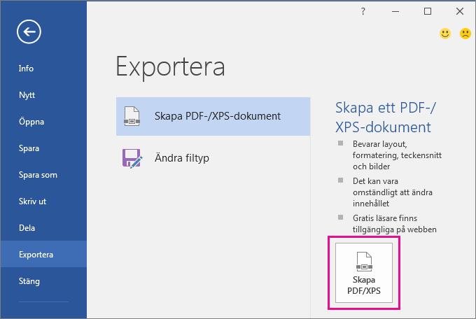 Knappen Skapa PDF/XPS på fliken Exportera i Word 2016.