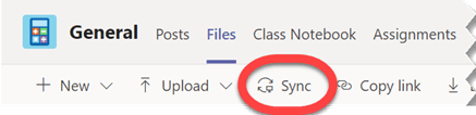 Använd knappen Synkronisera på fliken filer för att synkronisera alla filer i den valda mappen.